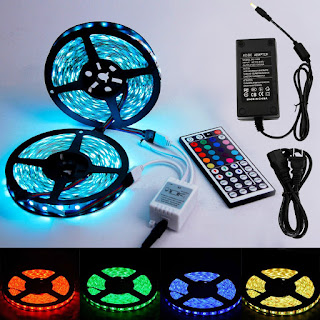 xtf2015 10m 30leds/m RGB 5050 SMD Waterproof 300 LED Lighting Rope Lights Strip Flexible Light +Two Outputs 44k IR Remote + 5A Power Kit