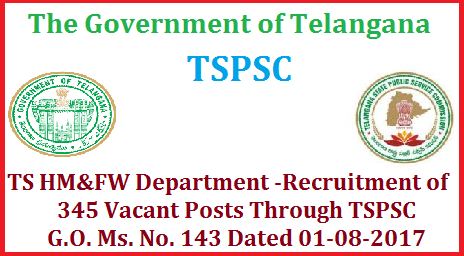 TS HM&FW Department -Recruitment of 345 Vacant Posts Through TSPSC GO MS No 143 Dated 01-08-2017 TS HM&FW Department Guidelines for filling up (345) of the post of Asst. Professor, Tutor and Lecturer (Teaching) G.O. Ms. No.143 Dated 01-08-2017  Telangana State Govt HM&FW Department – DME - Guidelines for filling up of the post of Asst. Professor, Tutor and Lecturer (Teaching), through the Telangana State Public Service Commission, for limited purpose of the present recruitment –Issued.the Government have  accorded  permission to fill up vacancies of various categories in HM&FW Department, through direct recruitment by Telangana State Public Service Commission Telangana State ts-hm-department-recruitment-of-345-vacant-posts-through-tspsc
