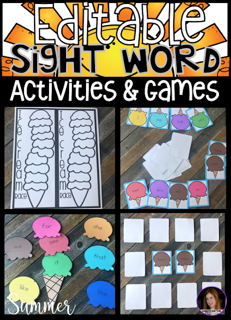 Are you looking for summer themed sight word activities, printables and games that you can change to meet the needs of your kindergarten and/or first grade children? Then, you will love Summer Editable Sight Words Printables, Activities and Games. Type in 20 sight words on one list and they will spread throughout all of the activities.