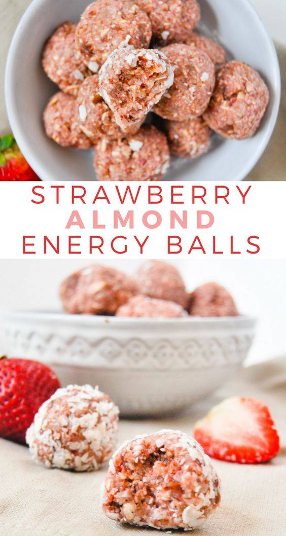NO BAKE STRAWBERRY ALMOND ENERGY BALLS #nobake #strawberry #almond #energy #balls #healthyfood #healthysnack #healthysnackideas