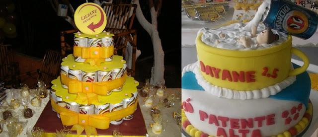 aniversario-com-tema-de-boteco-decoracoes-comidas-e-bolo-de-cerveja-e-bolo-personalizado