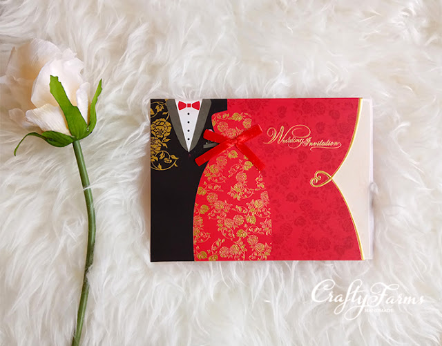 Bride & Groom Oriental Chinese Pocket Wedding Card