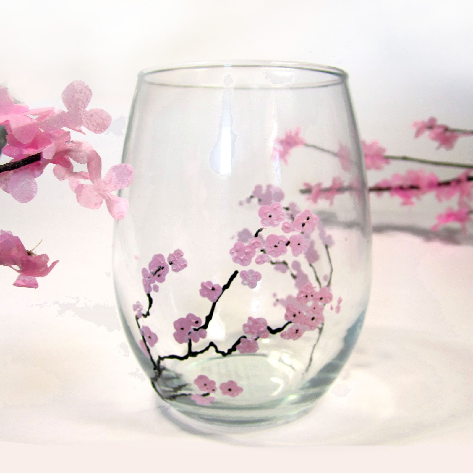 365 designs diy cherry blossom branches glass tumblers for Homemade glass painting designs