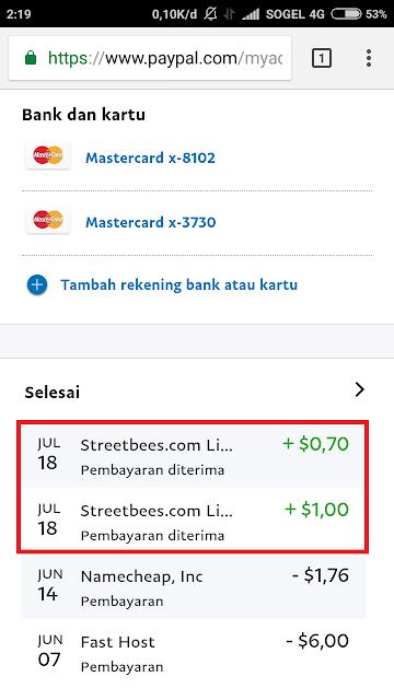 Pembayaran Streetbees via Paypal