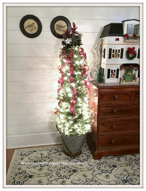 Christmas-Foyer-Tree-Olive Bucket-Shiplap-Cottage Style-Farmhouse Style-From My Front Porch To Yours