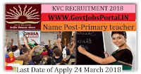 kendriya vidyalaya recruitment 2018-Primary teacher, Computer Instructors
