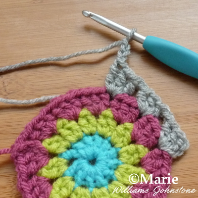 Chain on a crochet hook