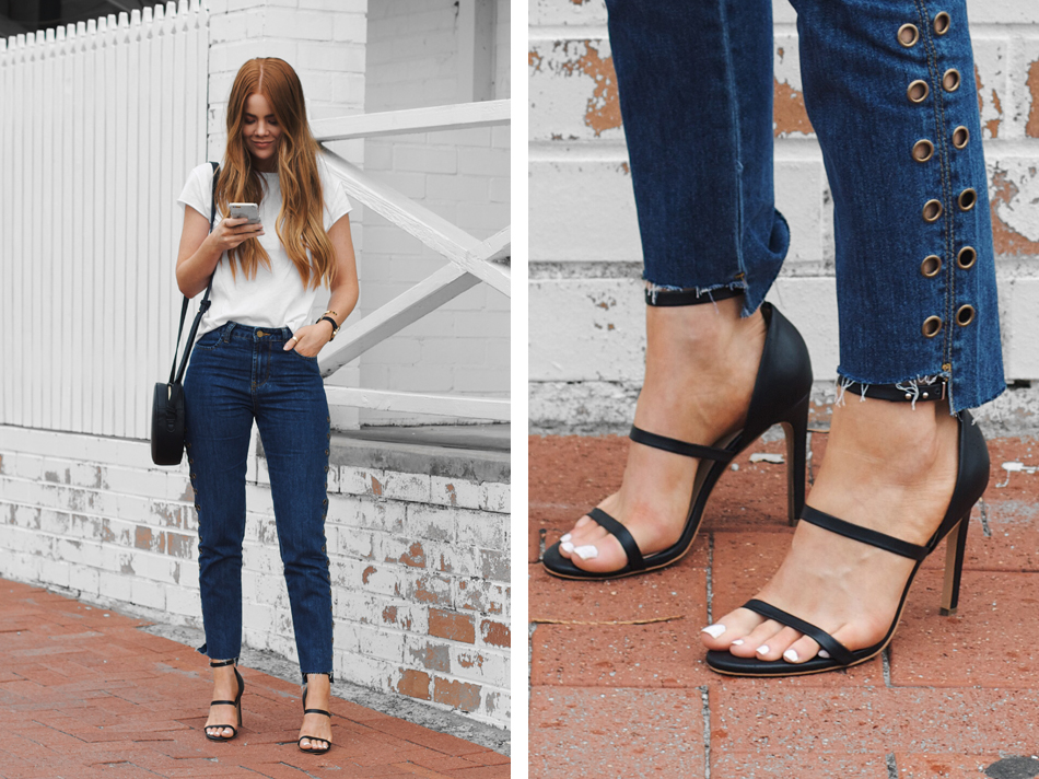 NA-KD t-shirt, relaxed blue denim jeans, eyelet trend, raw hemline, the mode collective sara heel