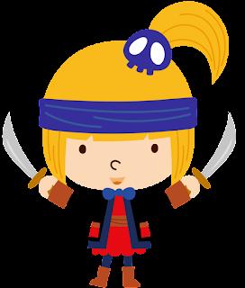 niña pirata con coleta para imprimir