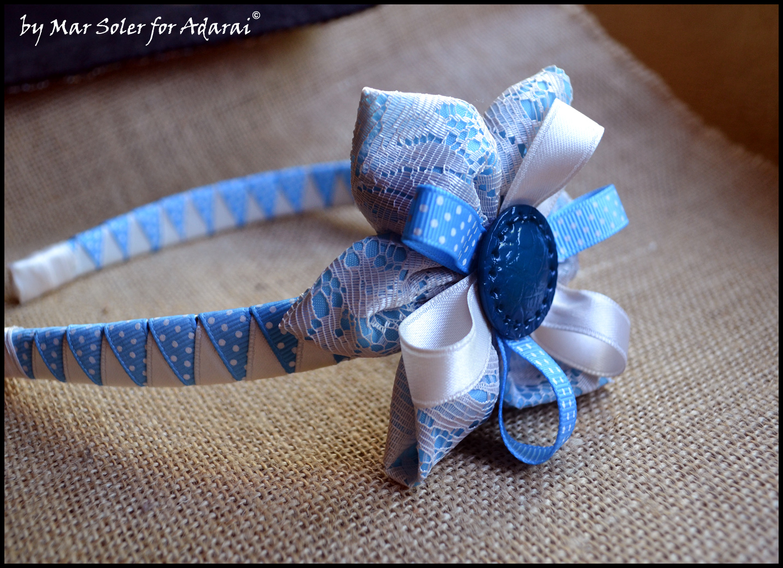 Adarai creaciones handmade diadema azul con encajes - Diademas de encaje ...