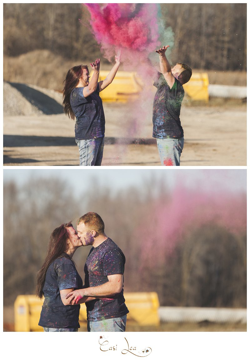 Country chic romantic fall engagement session in Wisconsin in a quarry with holi powder