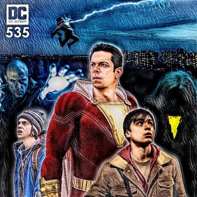 Shazam (Zachary Levi), Freddy Freeman (Jack Dylan Grazer), Billy Batson (asher Angel), the Wizard (Djimon Hounsou), and Sivana (Mark Strong)