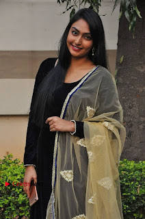 Actress Grace Myrtle Pos in Black Anarkali Dress at Beep Short Film Press Meet  0003.jpg