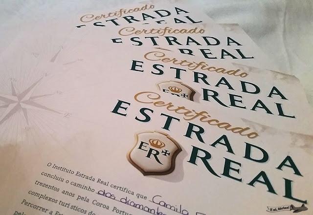Certificado de conclusão do Caminho dos Diamantes da Estrada Real, Diamantina a Ouro Preto, Minas Gerais