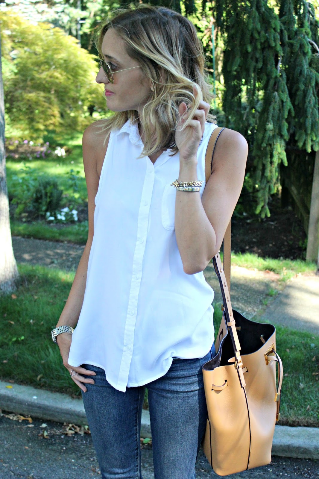 white mossimo button down tank