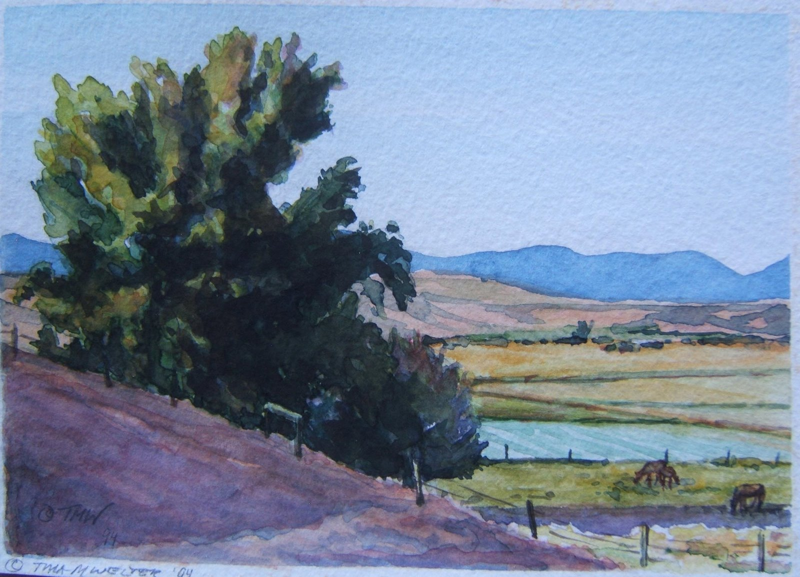 """Hillside and Horses"" 5""x 7"" watercolor on paper, ©1994 Tina M Welter  Landscape watercolor painting near Drummond, Montana"