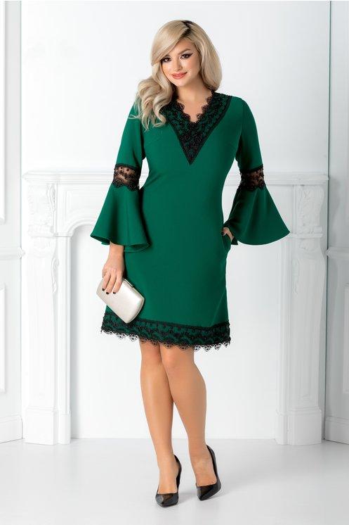 Rochie eleganta de ocazii verde cu dantela si margele