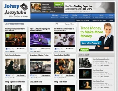 Johny Jazzytube Blogger Template