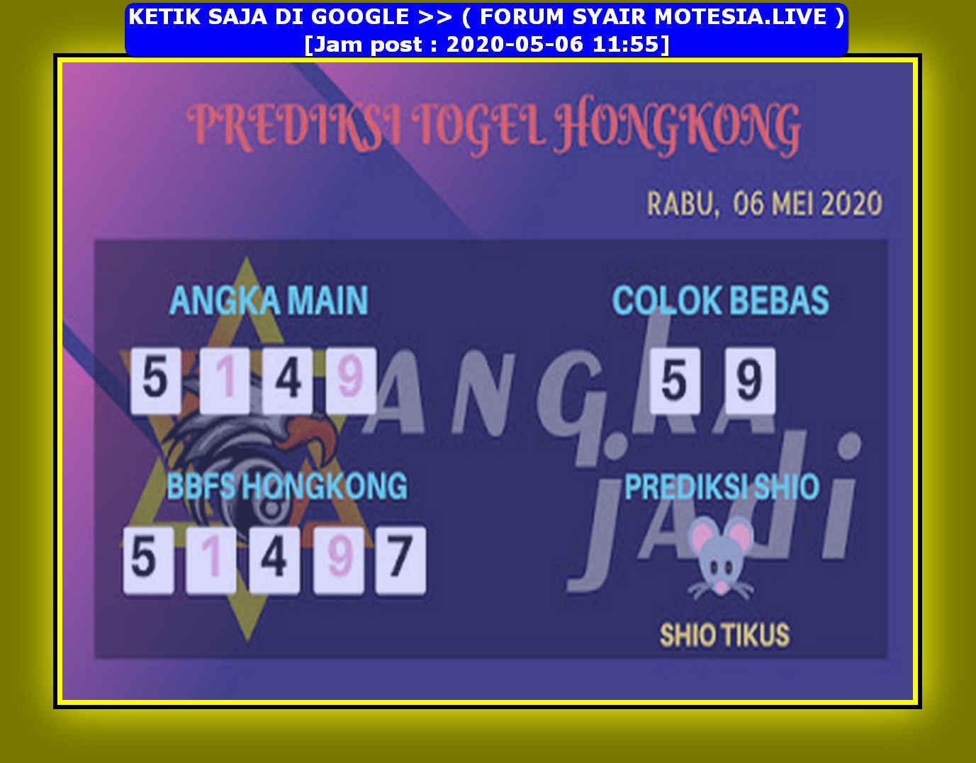 Kode syair Hongkong Rabu 6 Mei 2020 148