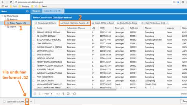 Cara Download Data Calon Peserta UN di Web PDUN