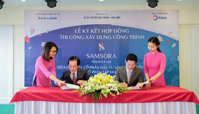 Lễ ký kết hợp đồng thi công tại Samsora Premier