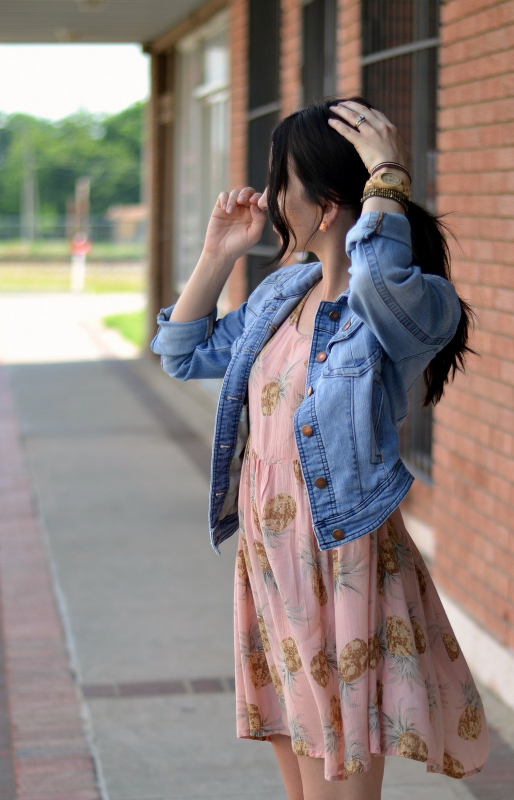 Summer print dress with jean jacket