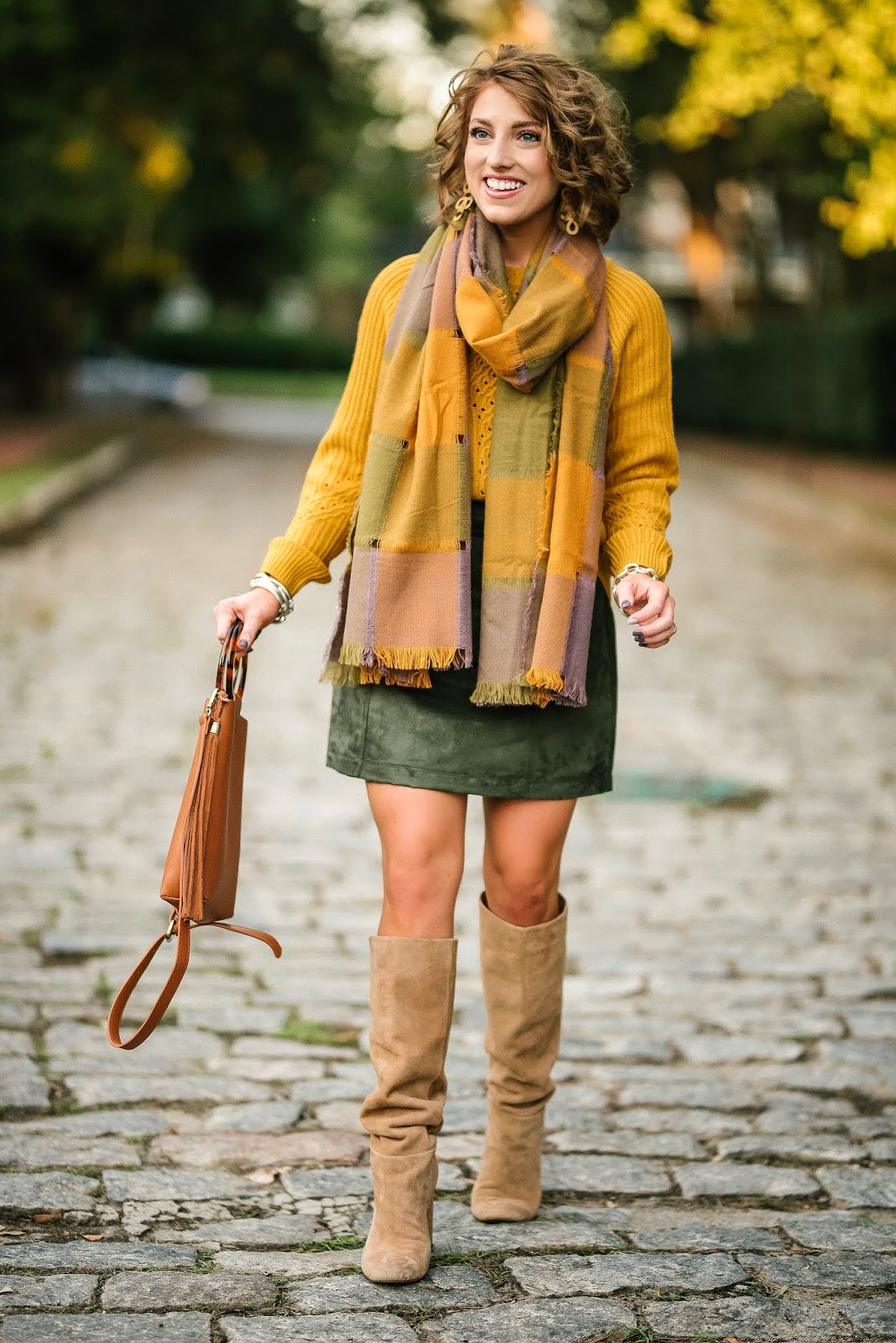 Mustard Yellow & Olive Green for Fall (Skirt, Sweater, Scarf and Bag each under $100) - Something Delightful Blog