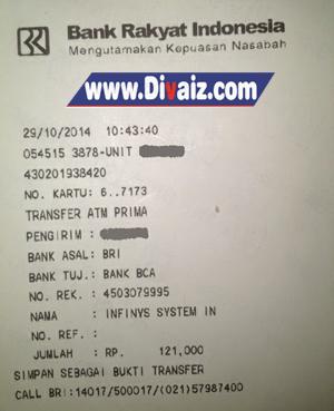 Bukti transfer uang BRI ke BCA - www.divaizz.ccom