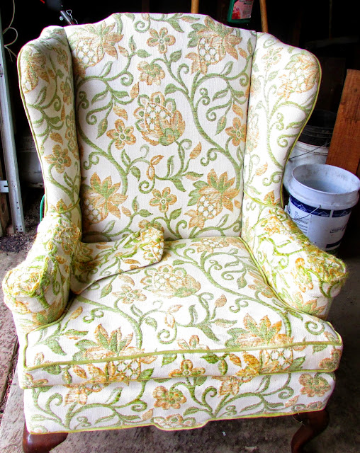 How to makeover a thrift store wingback chair for pennies.
