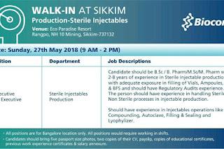 Biocon Limited Walk In drive For B.Sc, B.Pharm, M.Sc, M.Pharm @ 27 May