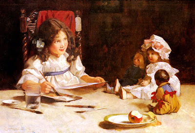 Victorian girl painting portrait of her dolls - Carlton Alfred Smith