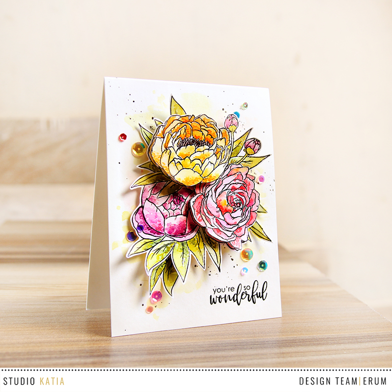 Studio Katia Blooming Bunch Stamp Set watercoloured with distress inks | Erum Tasneem | @pr0digy0