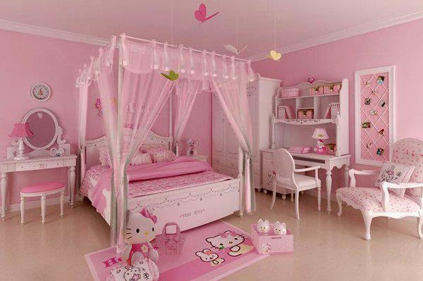 pink hello kitty bedroom interior design ideas for teen girls