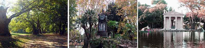 Ampi spazi per relax e passeggiate. L'orologio ad acqua l'unico ad impiegare l'acqua, il Tempio di Esculapio nel giardino del Lago.