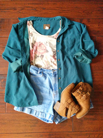 Floral Tank and Green Velveteen Shirt