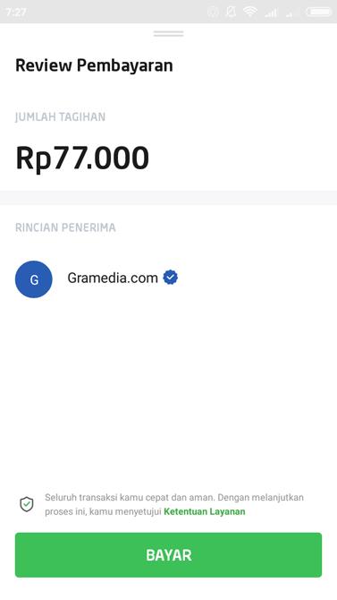 Layar gawai mendeteksi kode batang Gramedia