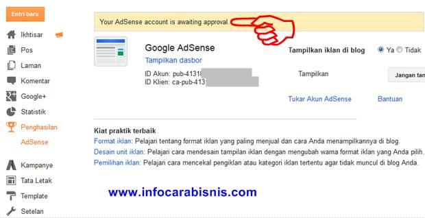 Menunggu persetujuaan Google Adsense
