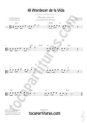 Viola Partitura de Al Atardecer de la Vida Sheet Music for Viola Music Score