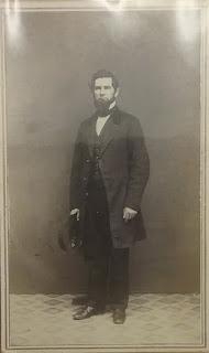 New York CDV, man holding hat, posing stand