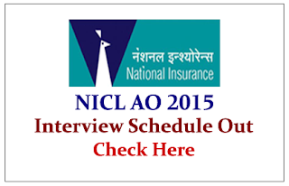 NICL AO 2015 Interview Schedule out
