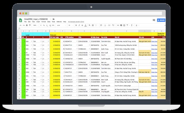 Chào mừng bạn đến với ColaCRM - Google Sheets CRM - Spreadsheet CRM