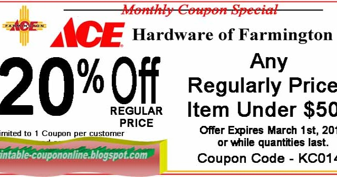 photo regarding Ace Hardware Printable Coupons called Ace components discounted coupon codes printable : Promo code system retail outlet