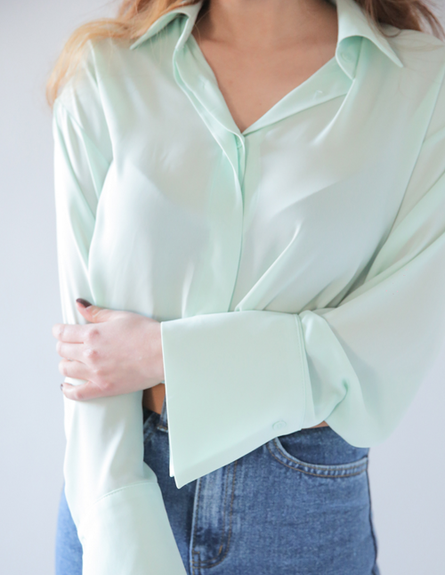 Point Collar Long Sleeve Shirt