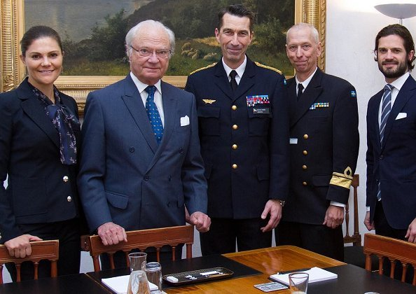 Crown Princess Victoria and Prince Carl Philip at a meeting with General Per Micael Bydén. Erdem and H&M