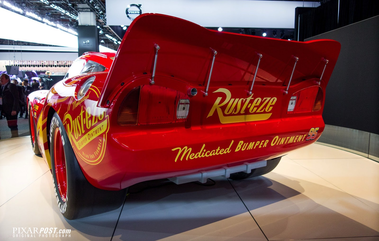 Lightning mcqueen with updated cars 3 design on display at the 2017 detroit auto