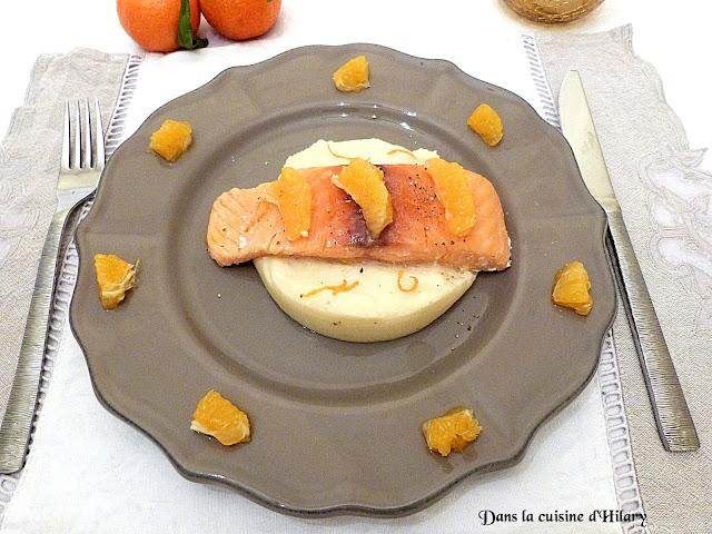 Saumon confit à l'huile d'olive et mandarine et sa mousseline de panais