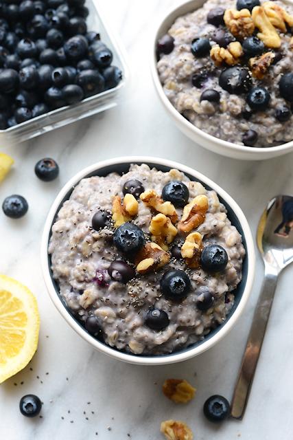 oatmeal blueberry chia easy breakfast healthy