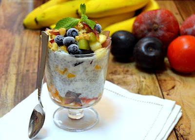 Basil Chia seeds fruit parfait