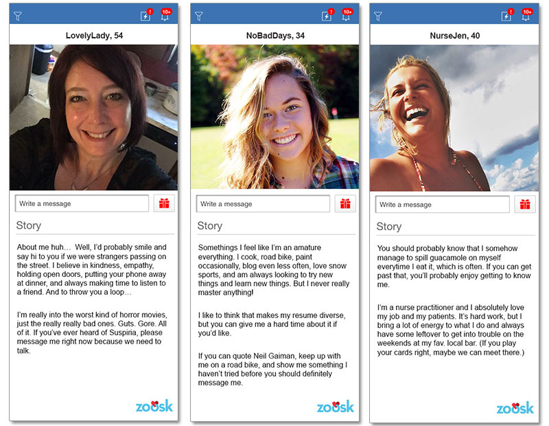 Examples of female profiles for online dating over 50