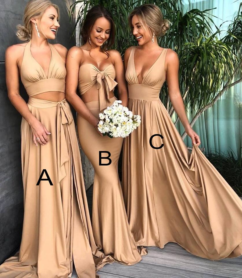 Sexy Gold Slit Bridesmaid Dresses | Simple V-Neck Maid of the Honor Dress